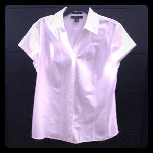 Crisp White Short-Sleeve Button Down Shirt